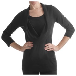 Belford Draped Merino Wool Sweater - Cowl Neck, 3/4 Sleeve (For Women) in Black
