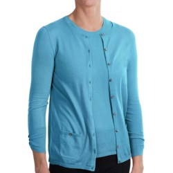 Belford Jewel Neck Cardigan Sweater - Pima Cotton, 3/4 Sleeve (For Women) in Azure