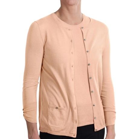 Belford Jewel Neck Cardigan Sweater - Pima Cotton, 3/4 Sleeve (For Women) in Daisy Pink