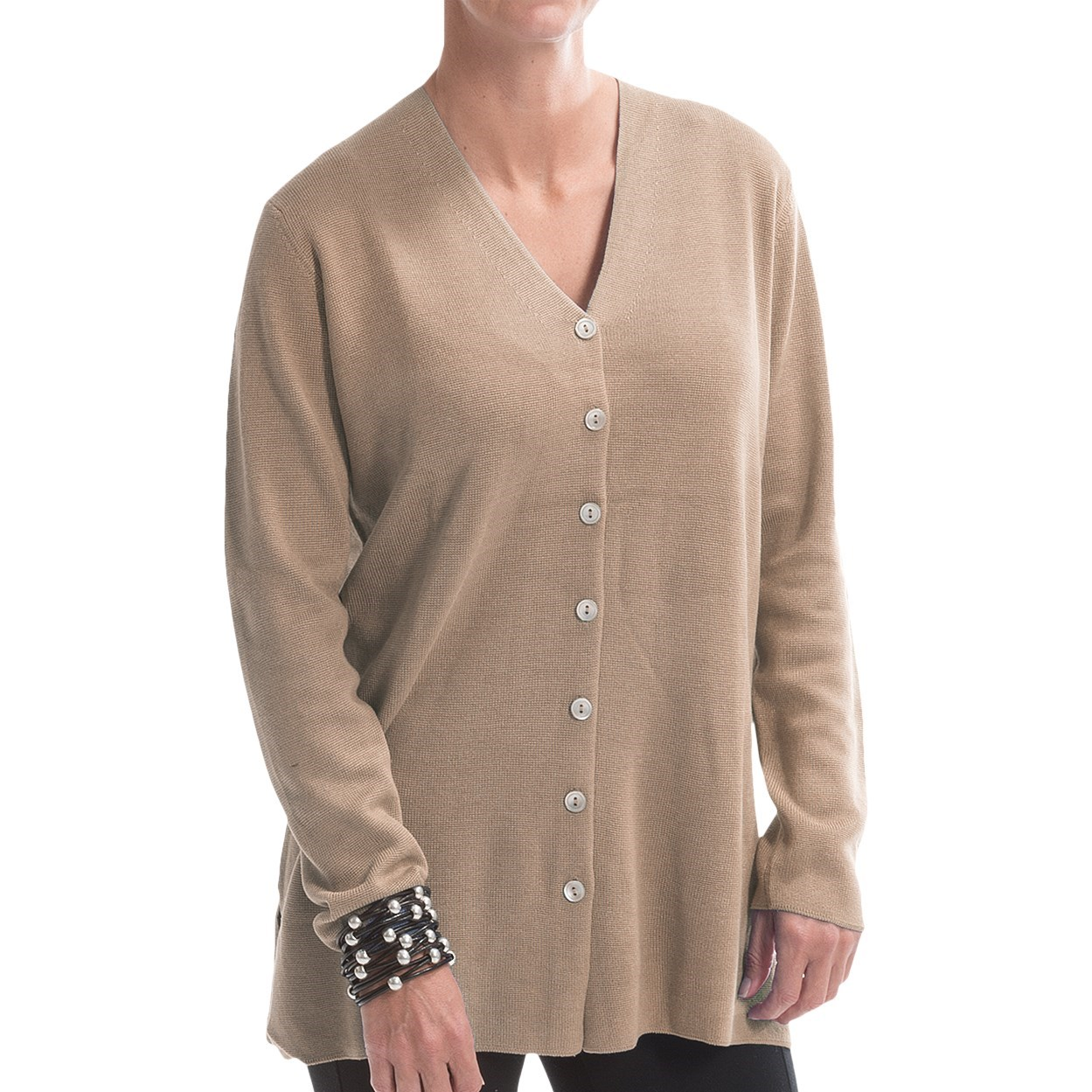 Silk Sweaters. Look every bit the modern beauty you are when you sport a silk sweater from chic brands in a variety of cuts and colors. Ultra Elegance.