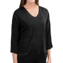 Belford Silk Shirt - V-Neck, 3/4 Sleeve (For Women) in Black - Closeouts