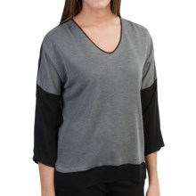Belford Silk Shirt - V-Neck, 3/4 Sleeve (For Women) in Grey - Closeouts