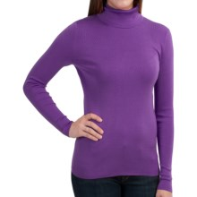 Belford Silk Turtleneck - Long Sleeve (For Women) in Amethyst Heather - Closeouts