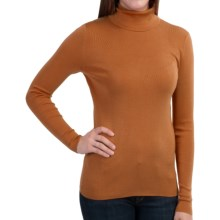 Belford Silk Turtleneck - Long Sleeve (For Women) in Caramel Heather - Closeouts