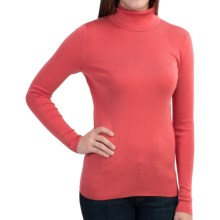 Belford Silk Turtleneck - Long Sleeve (For Women) in Salmon Heather - Closeouts