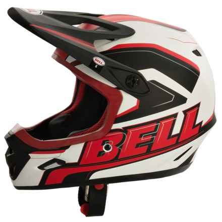 Bell Transfer-9 Full Face Mountain Bike Helmet (For Men and Women) in Matte White/Red Setup - Closeouts