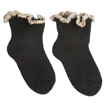 b.ella Adagio Bootie Socks - Pompom Cuff (For Infants) in Black - Closeouts
