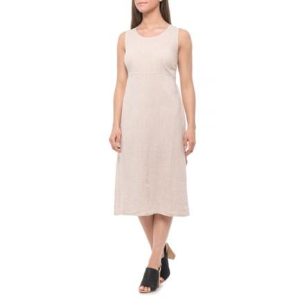 017cf6be4a Bella Ambra Made in Italian Beige Italian Tie-Back Midi Dress - Linen