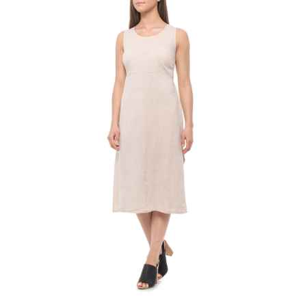 0640feb2d4 Bella Ambra Made in Italian Beige Italian Tie-Back Midi Dress - Linen