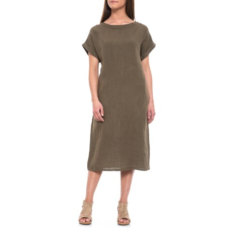 798b226e5a Bella Ambra Military Italian Linen Midi Dress - Short Sleeve (For Women) in  Military