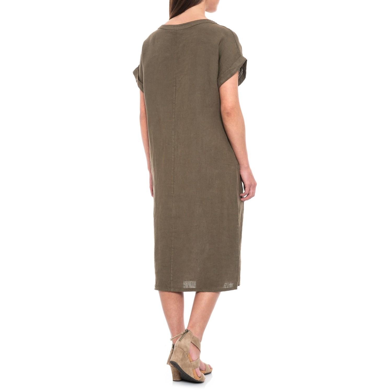 dc8576c45d Bella Ambra Military Italian Linen Midi Dress - Short Sleeve (For Women)