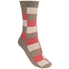 b.ella Angora Block Crew Socks (For Women) in Khaki/Peach - Closeouts