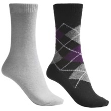 b.ella Argyle and Solid Socks - 2-Pack (For Women) in Black/Ice Grey - Closeouts