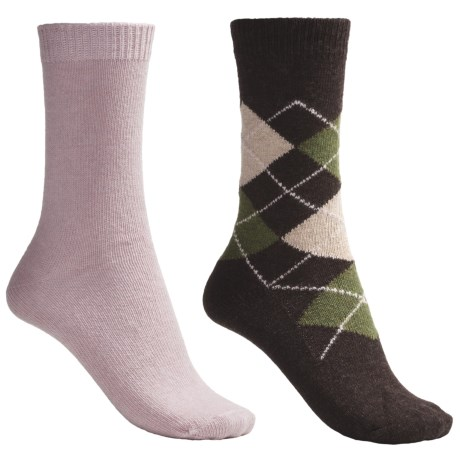 b.ella Argyle and Solid Socks - 2-Pack (For Women) in Cocoa/Pink