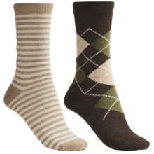 b.ella Argyle/Stripe Socks - Crew, 2-Pack (For Women) in Cocoa/Tan - Closeouts
