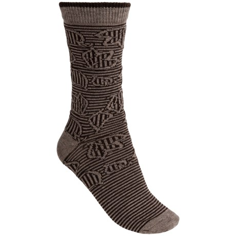 b.ella Brynn Jacquard Leaves Socks - Merino Wool Blend, Crew (For Women) in Khaki