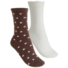 b.ella Cashmere Blend Crew Socks - 2-Pack (For Women) in Chocolate/Natural - Closeouts