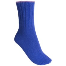 b.ella Connie Contrast-Tip Socks - Cashmere Blend, Crew (For Women) in Royal - Closeouts
