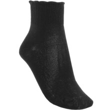 b.ella Crochet-Top Ankle Socks - Mercerized Pima Cotton, Quarter-Crew (For Women) in Caviar - Closeouts