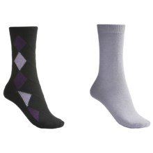 b.ella Diamond and Solid Socks - 2-Pack (For Women) in Black/Ice Grey - Closeouts