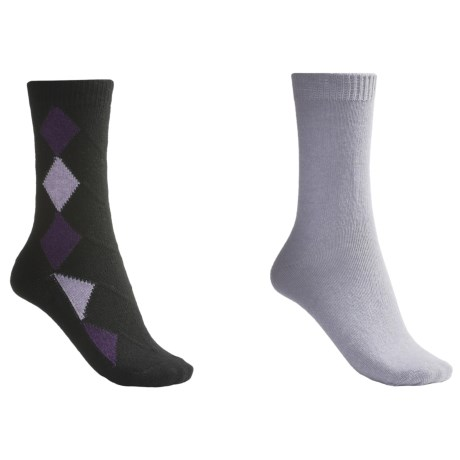 b.ella Diamond and Solid Socks - 2-Pack (For Women) in Black/Ice Grey