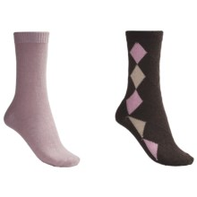 b.ella Diamond and Solid Socks - 2-Pack (For Women) in Cocoa/Pink - Closeouts
