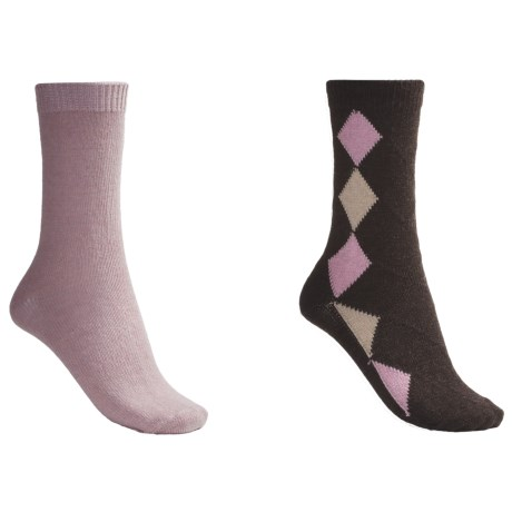 b.ella Diamond and Solid Socks - 2-Pack (For Women) in Cocoa/Pink
