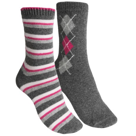 b.ella Diamond and Stripe Socks - 2-Pack (For Women) in Grey/Grey