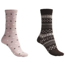 b.ella Dot and Fair Isle Socks - 2-Pack (For Women) in Pink/Cocoa - Closeouts