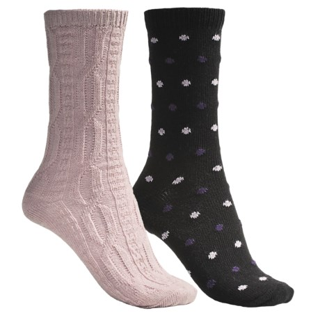 b.ella Dot and Solid Socks - 2-Pack (For Women) in Black/Pink