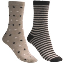 b.ella Dot and Stripe Socks - 2-Pack (For Women) in Tan/Cocoa - Closeouts