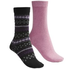 b.ella Fair Isle and Solid Socks - 2-Pack (For Women) in Black/Pink - Closeouts