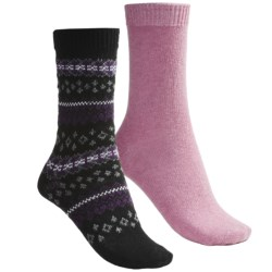 b.ella Fair Isle and Solid Socks - 2-Pack (For Women) in Black/Pink