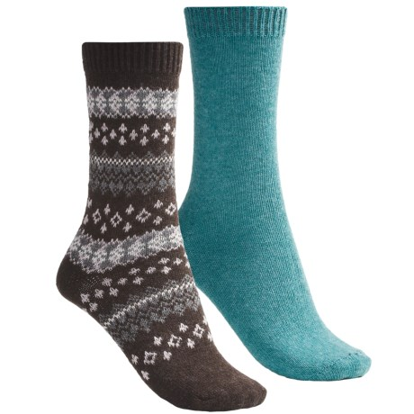 b.ella Fair Isle and Solid Socks - 2-Pack (For Women) in Cocoa/Aqua