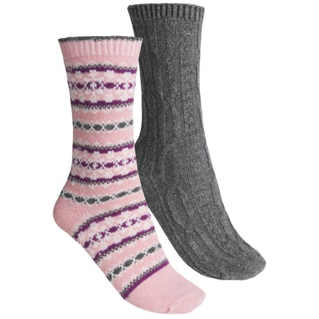 b.ella Fair Isle and Solid Socks - 2-Pack (For Women) in Pink/Grey