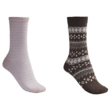 b.ella Fair Isle and Stripe Socks - 2-Pack (For Women) in Cocoa/Pink - Closeouts