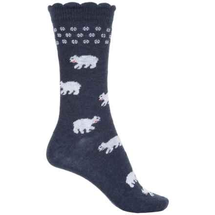 b.ella Hailey Polar Bear Socks - Crew (For Women) in Navy - Closeouts