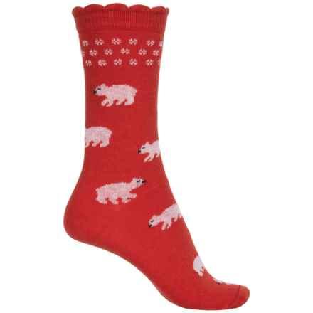b.ella Hailey Polar Bear Socks - Crew (For Women) in Red - Closeouts