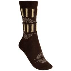 b.ella Ivy Victorian Stripe Socks - Merino Wool Blend, Crew (For Women) in Caviar