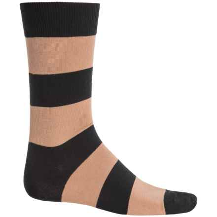 b.ella Jeffrey Rugby Striped Socks - Mercerized Cotton, Crew (For Men) in Caviar - Closeouts
