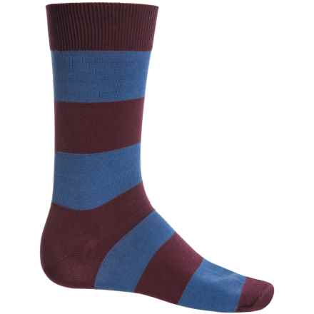 b.ella Jeffrey Rugby Striped Socks - Mercerized Cotton, Crew (For Men) in Merlot - Closeouts
