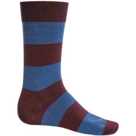 b.ella Jeffrey Rugby Striped Socks - Mercerized Cotton, Crew (For Men) in Merlot - Closeouts