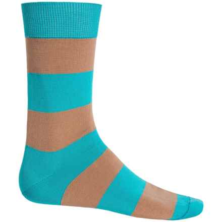 b.ella Jeffrey Rugby Striped Socks - Mercerized Cotton, Crew (For Men) in Turquoise - Closeouts