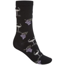 b.ella Juliet Wine & Grapes Socks - Merino Wool, Crew (For Women) in Black - Closeouts