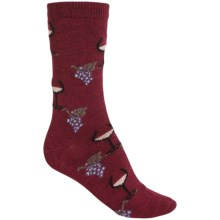 b.ella Juliet Wine & Grapes Socks - Merino Wool, Crew (For Women) in Burgundy - Closeouts