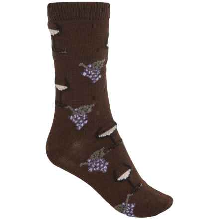 b.ella Juliet Wine & Grapes Socks - Merino Wool, Crew (For Women) in Espresso - Closeouts