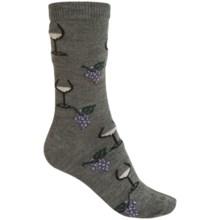 b.ella Juliet Wine & Grapes Socks - Merino Wool, Crew (For Women) in Grey - Closeouts
