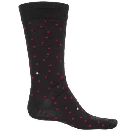 B.Ella Lukas Pindot Socks - Pima Cotton, Crew (For Men) in Caviar - Closeouts