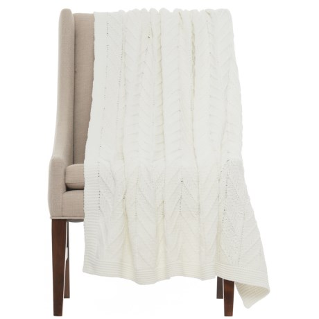 """Bella Lux Cozy Throw Blanket - 50x60"""" in Ivory"""