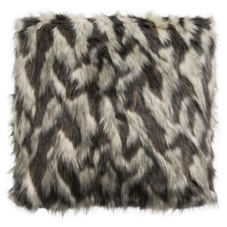 "Bella Lux Lois Faux-Fur Throw Pillow - 20x20"" in Grey White"